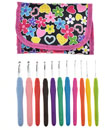 12 Pcs Multi-Coloured Soft Grip Handle Aluminum Crochet Hooks Knitting Needles with Carry Bag