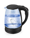 2.0L Blue LED Illuminated Cordless 360 Degree Black Glass Kettle