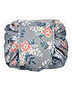 Quick Release Large Capacity Cosmetic Drawstring Bag Magic Pouch Travel Storage(deep grey flower printing)