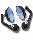 Pair of Adjustable Round Aluminum Alloy Convex Glass Motor cycle Mirror Black