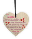Mum I Love You Every day Wooden Hanging Heart Mother's Day Gift Cute Mums Sign New