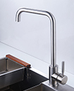 Brushed Steel Kitchen Sink Mixer Taps Mono Bloc Square Single Swivel Spout Tap