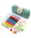 30Pcs Crochet Hooks Set Yarn Knitting Needle Sewing Tool Ergonomic Grip Bag Hook