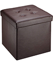 Folding Storage Ottoman Seat Stool Toy Storage Box Faux Leather Pouffe