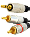 1 Meter Gold Plated 3.5mm Stereo Audio Jack to 2 R