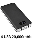 Portable 20,000mAH 4 USB Port LCD LED External Power Bank Backup Battery Charger