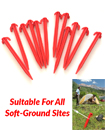"25x Red Heavy Duty Camping 8"" (19cm) Plastic Tent Pegs"