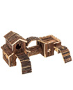 Wooden Hamster Playground Natural Cedar Wood Climb Hide Pet Boredom Breaker Play House