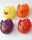 4 X Rubber Colour Changing Ducks Fun Kids Bath Squ