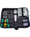 Networking RJ45 Connectors Crimper Cable Tester Punch down Stripper Kit Case