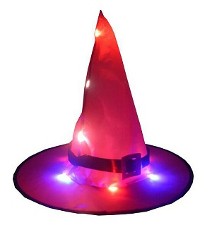LED Glowing Witch Hat Halloween Tree Hanging Decor Light Up Witches Caps