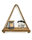 Rustic Wooden Hanging Rope Shelf - Handmade Solid Natural Wood Floating Shelves 1Tier