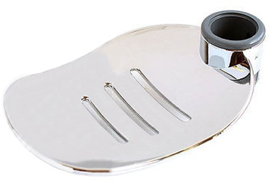 Modern Shower Soap Dish Holder Chrome | Large Leaf Design | Fits 25mm Riser Rail