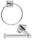 Chrome Square Bathroom Toilet Roll Holder & Towel