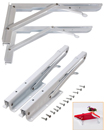 2x White Wall Mounted Metal Folding Triangle Angle Shelf Support Bracket 30x15CM