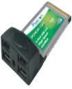 4 Port USB 2.0 High Speed CardBus PCMCIA Adapter
