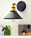 Vintage Industrial Antique Brass Black Scone Wall Light Lamp Shade