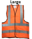 Large Orange High Viz Visibility Reflective Strips Vest EN471 Waistcoat Safety