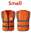 Orange Hi Vis High Viz Visibility Vest Waistcoat Safety with pockets Small