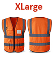 Orange Hi Vis High Viz Visibility Vest Waistcoat Safety  with pockets -X Large 70X64