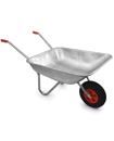 100kg 65 L Metal Galvanised Wheelbarrows with 12""