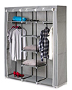 Large Grey Canvas Wardrobe Foldable Clothes Cupboard. Storage Organiser Shelving