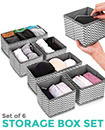 NEW 6 SECTION CANVAS STORAGE BOX WARDROBE ORGANISER DRAWER ORGANISER SOCKS TIES