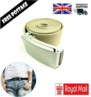MENS CANVAS BELT WAIST BELT COTTON WEBBING ADJUSTABLE UNISEX ARMY